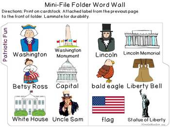 Patriotic Fun Mini-Word Wall Activity Pack
