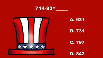 Patriotic Fun With Three Digit Addition/Subtraction - PowerPoint Game