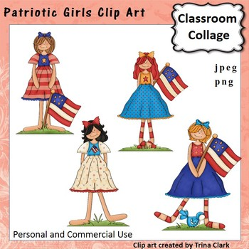 Patriotic Girls Clip Art - color - personal & commercial use