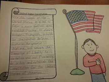 Patriotic Hat Pattern and US Constitution Tracing Activity C-scope Common Core