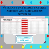 Veteran's Day Hidden Picture Addition and Subtraction within 20