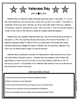 Patriotic Holiday Reading Comprehension Passages (Differentiated)