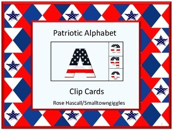 American Symbols, Alphabet Matching, Clip Cards, Special Education, Summer
