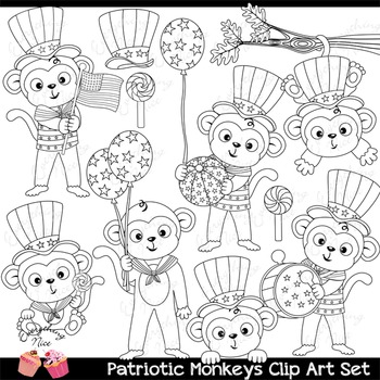 Patriotic Independence Day Fourth of July July 4 July four Monkeys Clipart Set
