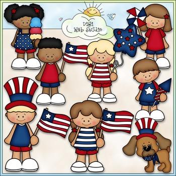 Patriotic Kids Clip Art - July 4 Clip Art - CU Clip Art & B&W