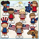 Patriotic Kids - CU Clip Art & B&W Set