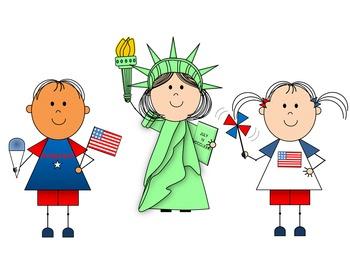 Patriotic Kids Clip Art {by Busy Bee Clip Art}