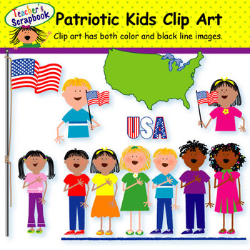 Patriotic Kids Clip Art
