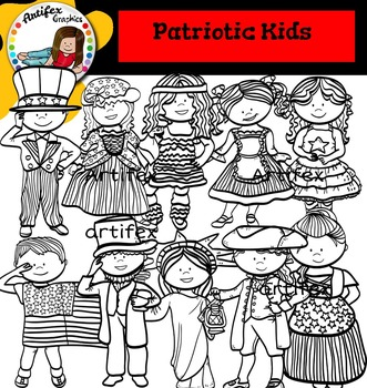 Patriotic Kids Clip Art - 4th of July  -Color and B&W-