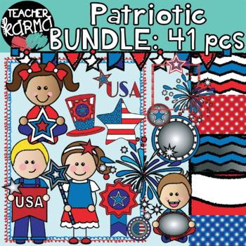 Patriotic Kids Clipart BUNDLE: 41 pieces