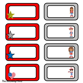 Red White and Blue Labels {Editable}