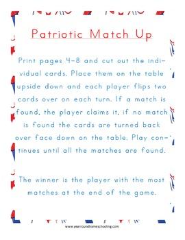 Patriotic Matching Game Pack