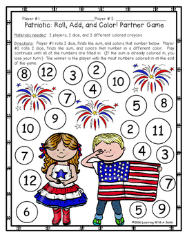 FREE Patriotic Math Game ~ Roll, Add, and Color ~ Partner Game