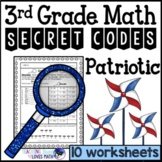 Patriotic Math Secret Code Worksheets 3rd Grade Common Core