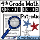 Patriotic Math Secret Code Worksheets 4th Grade Common Core