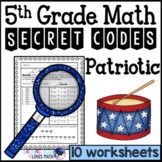 Patriotic Math Secret Code Worksheets 5th Grade Common Core