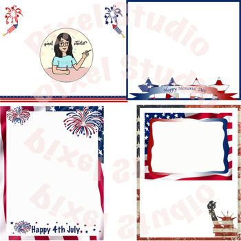 Patriotic, Memorial day, Veterans day, Independence day Frames, Borders