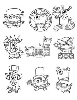 Patriotic Monsters Clipart