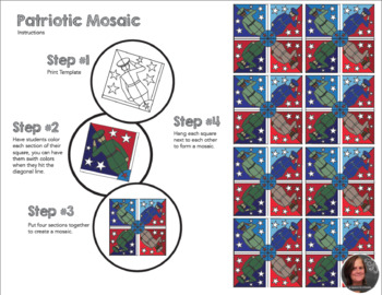 Patriotic Mosaic - Interactive Coloring Sheets - Memorial & President's Day Art
