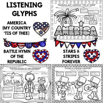 Patriotic Music Bundle (Glyphs & Coloring Books)