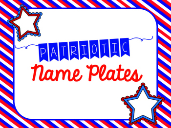 Patriotic Name Plates (Red, White and Blue - USA Theme)
