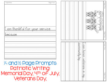Patriotic Napkin Book Writing Prompts