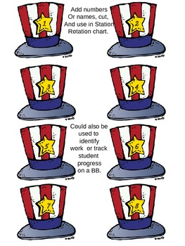 Patriotic Newsletter, Literacy and Math Station Signs, Rotation Signs and  Cards