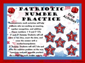 Patriotic Number Practice: Counting, Number Recognition, and Addition