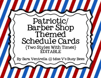 Patriotic OR Barber Shop Themed Schedule Cards {2 Styles + Times} EDITABLE