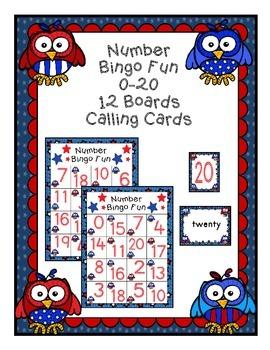 Patriotic Owl Number Bingo 0-20 Number Word Math Center Fun July 4th