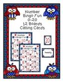 Patriotic Owl Number Bingo 0-20 Number Word Math Center Fu