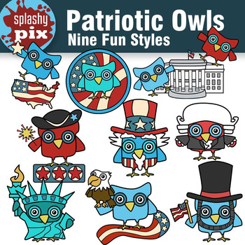 Patriotic Owls Clipart
