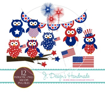 Patriotic Owls Commercial Use Clipart