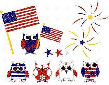 Patriotic Owls by Poppydreamz