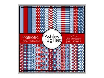 12x12 Digital Paper Set: Patriotic Collection {A Hughes Design}