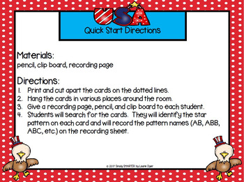 Patriotic Patterns:  LOW PREP America Themed Write the Room
