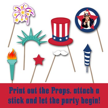 Patriotic Photo Booth Props and Decorations - Printable