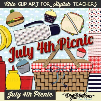 Patriotic Picnic Clipart Set