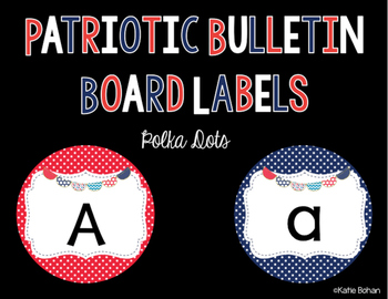 Bulletin Board Labels- Red and blue polka dots