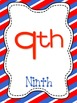 Patriotic Print Number Posters 1-20 and Counting by 10s an