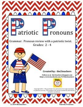 Pronouns:  Patriotic Pronouns Grammar Review - President's Day