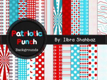 Patriotic Punch Digital Paper Backgrounds {24 in All}