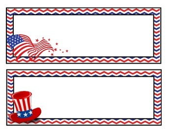 Patriotic Red, White, & Blue Chevron Name Tags/Labels