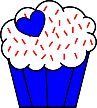 Patriotic (Red,White and Blue) Cupcakes Clip Art