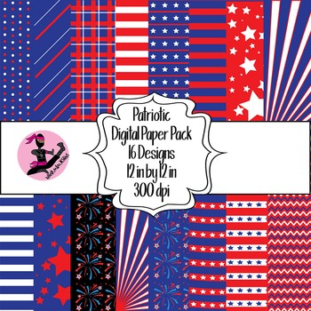 Patriotic Red White and Blue Digital Paper- 16 Designs- 12 by 12- 300 dpi