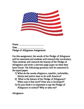 Patriotic Research: Pledge of Allegiance Assignment (Adapted Version included)