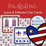 Patriotic Same and Different Clip Cards