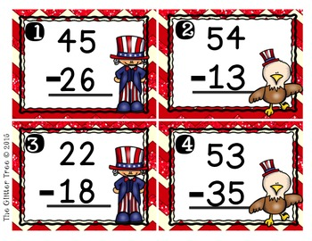 Patriotic Scoot-Double and Triple Digit Subtraction with regrouping