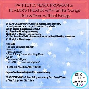 FREEBIE:Patriotic Literacy Bundle of Songs, Readers Theater, Writing Activities