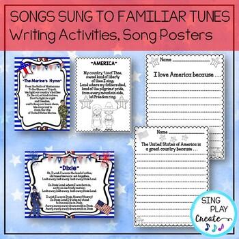 FREEBIE: Patriotic Literacy Songs, Readers Theater, Writing Activities